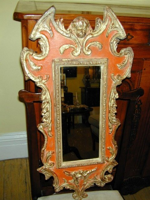Pair of Italian Rococo Style Wood Carved & Painted Mirrors