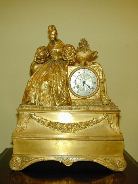 Louis Philippe Gilt Bronze Figural Mantel Clock