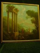 Framed Painting of Italian Landscape&Ruins