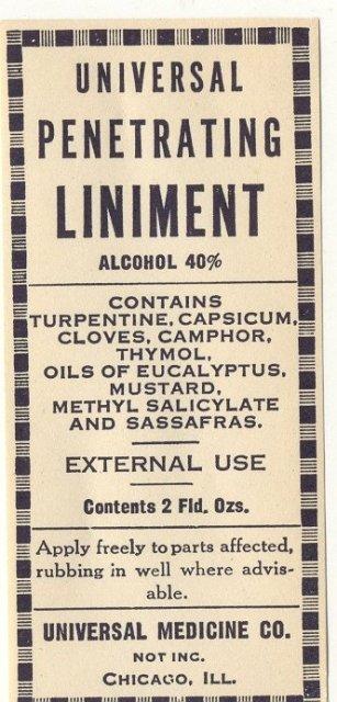 old vintage 1920s Liniment Remedy Label