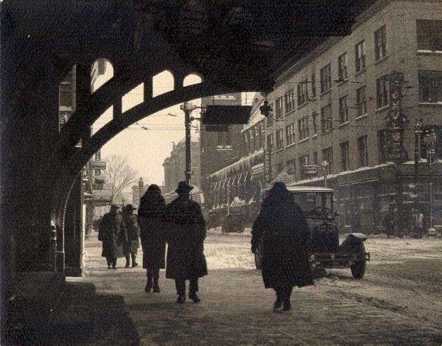 Mitchel A. Obremski: Street Scene in Snow, Syracuse, New York