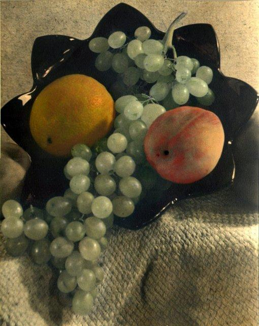 William J. McMichael: untitled (fruit arrangement, hand-colored)