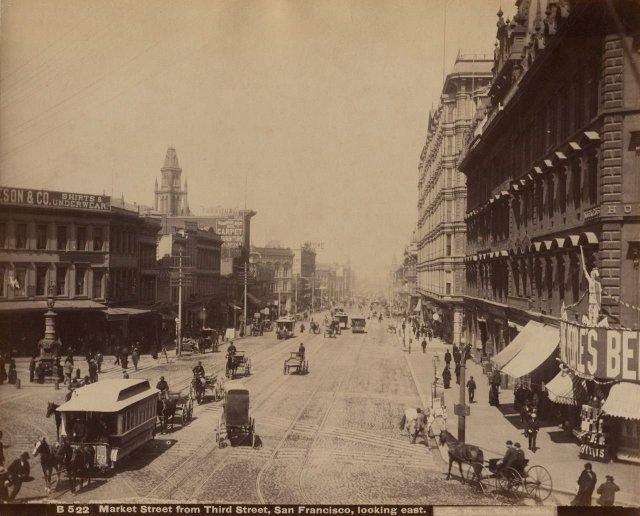 Taber: Market Street from Third Street, San Francisco, looking east