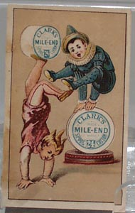 Victorian Trade Cards Clarks Thread Boy on Hands 1800.