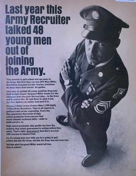Army Recruiter ad for sch