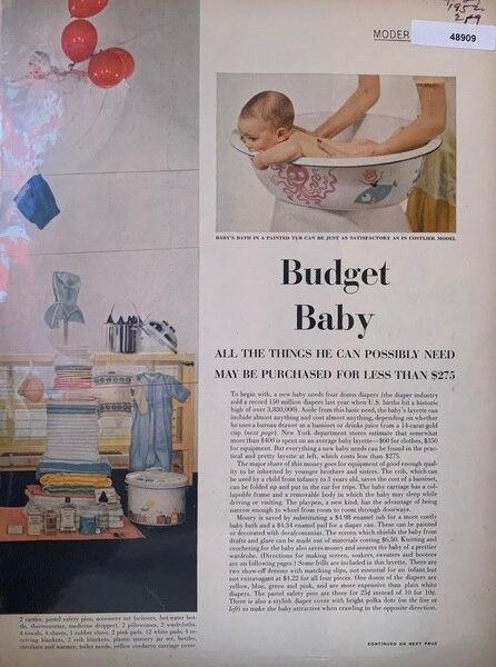 Baby on a budget 1952, 2