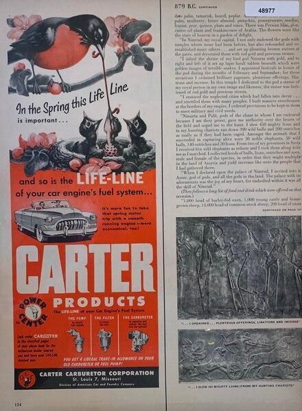 Carter Carburetor ad 1952