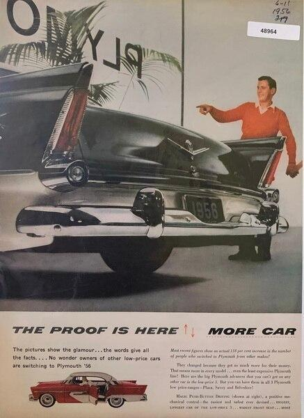 1956 Plymouth car ad, Jun