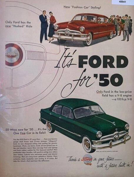 1950 Ford in red and gree