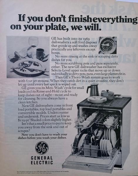2 page ad,GE dishwasher O