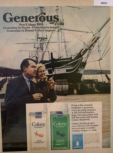 Colony Cicarettes ad Nov