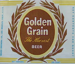 Golden Grain Beer Bottle Label.