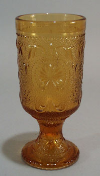 Brockway Concord Ware Amber Footed water goblet