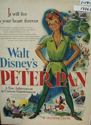 Walt Disney's Peter Pan Ad 1953