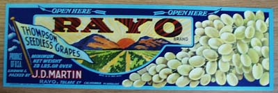Rayco Grapes Crate Label.