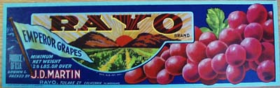 Rayco Grapes Crate Label Red Grapes
