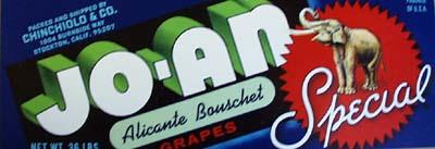 Jo-An Alicante Bouchet Grapes Crate Label