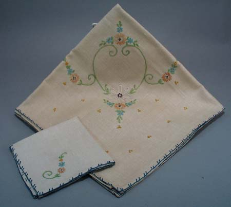 Unused Embrodiery Table cloth and napkins
