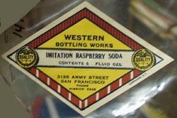 Western Bottling Works Raspberry Soda Bottle Label.