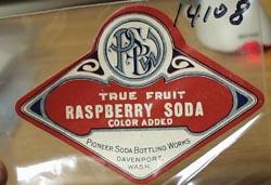Pioneer Bottling Works Raspberry Soda Bottle Label