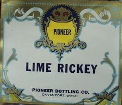 Pioneer Lime Rickey Bottle Label.