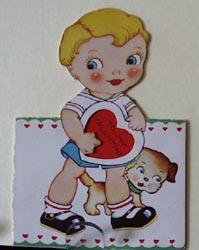 Blond Boy With Puppy Valentine.
