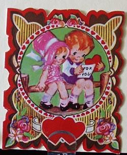 Boy & Girl Sitting on Split Rail Fence Valentine.
