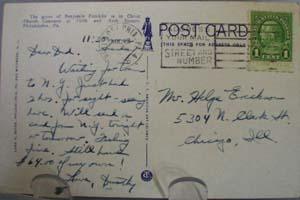Ben Franklins Grave Phila Postcard