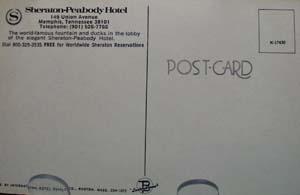 Sheraton-Peabody Hotel Memphis Postcard