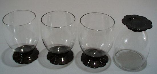 Weston or Fry Glass Petal Foot Water Glass (4).