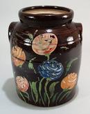 Crock Cookie Jar with Flowers.