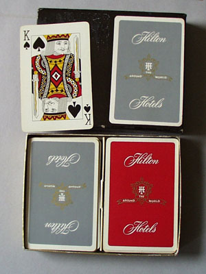 Playing Cards in Case Hilton Hotels.
