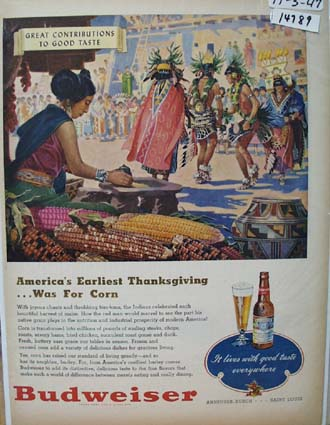 Budweiser Beer Thanksgiving Ad 1947