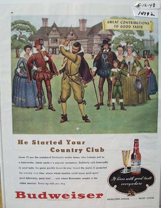Budweiser Started Your Country Club Ad 1948