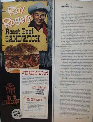 Roy Rogers Roast Beef Sandwich Ad 1968