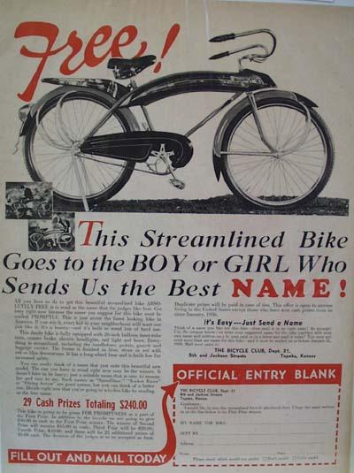 Bicycle Club Free Bike Ad 1939
