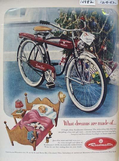 Roadmaster Bicycle Christmas Ad 1952