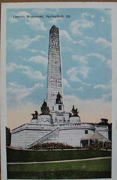 Lincoln Memorial, Springfield Illinois Postcard,