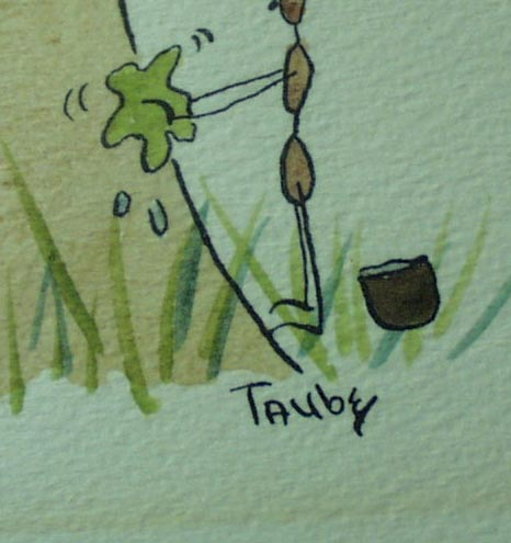 Whimsical Water Color of 2 ants polishing a Mushroom by Taube