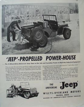 Jeep Propelled Power-House Ad 1948