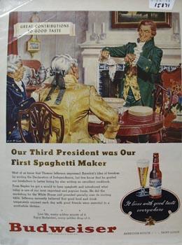Budweiser Our Third President Ad 1948