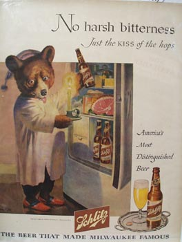 Schlitz Beer No harsh Bitterness Ad 1946