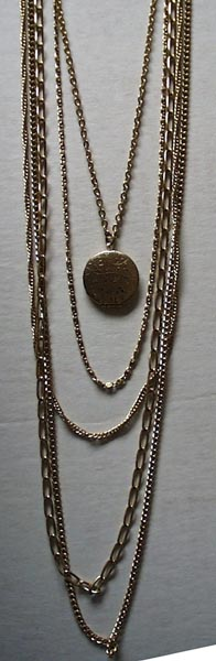 Gold 5 strand and locket Necklace by Citation