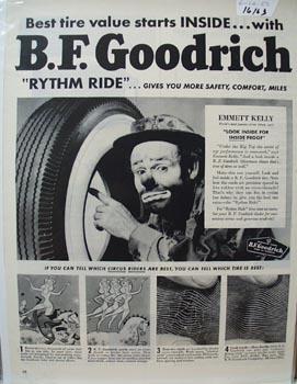 B F Goodrich Tire & Emmett Kelly Ad 1950