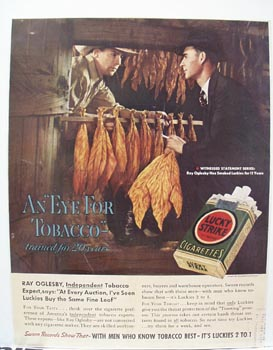 Lucky Strike Eye For Tobacco Ad 1938