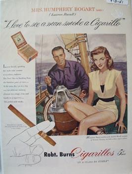 Robt. Burns Cigarillos Lauren Bacall Ad 1951