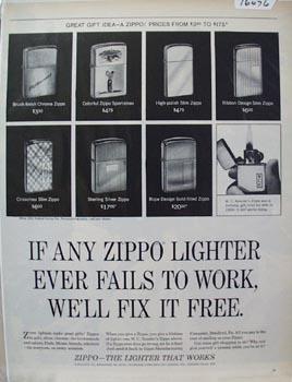 Zippo Lighter W,C Kesslers Zippo Ad 1965