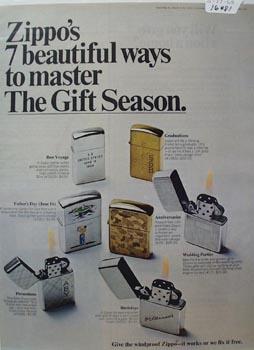 Zippo Lighter Seven Ways Ad 1968