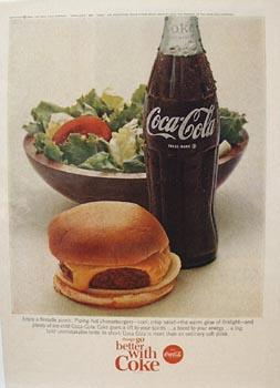 Coca-Cola Cheeseburger Salad & Coke Ad 1966