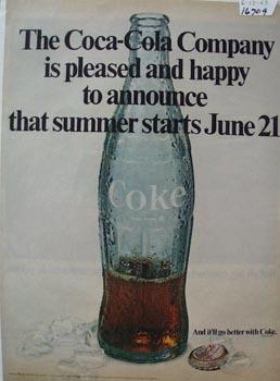 Coca-Cola Summer Starts June 21 Ad 1969